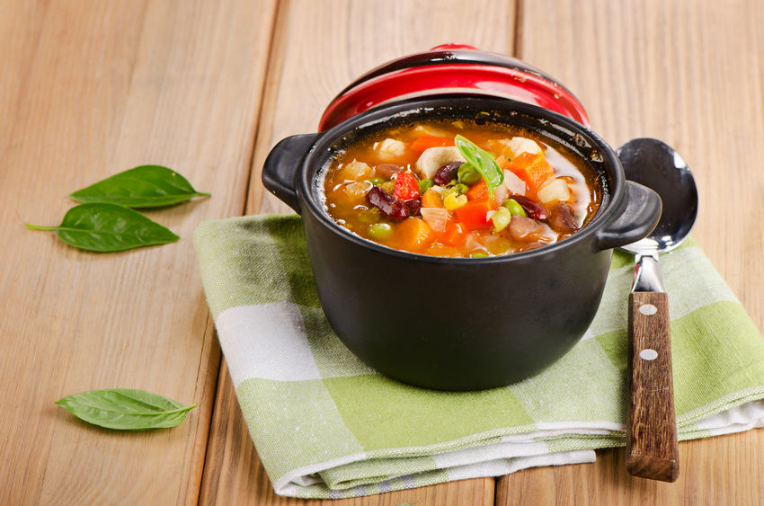 30619612 - minestrone soup with  beans and vegetables  selective focus