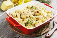 37773905 - casserole with cauliflower, chicken and cheese in a ceramic pot